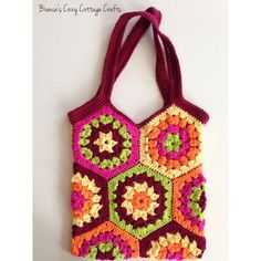 Tote bag, market bag, hexagon crochet bag, crochet tote bag, cotton... ($30) ❤ liked on Polyvore featuring bags, handbags and tote bags