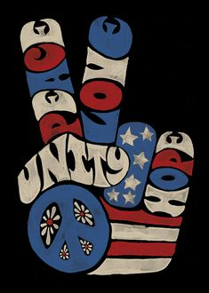 """""""Peace, Love, Unity, Hope"""" peace sign in red, white, and blue Hippie Peace, Happy Hippie, Hippie Love, Hippie Art, Hippie Chick, Hippie Style, Arte Naturalista, Beatles, Peace Sign Art"""