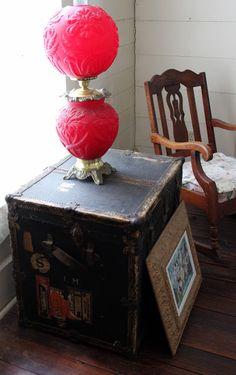 Ima Hogg trunk inside the Stinson House at the Quitman Arboretum