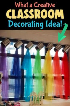 I usually share unique classroom bulletin board ideas for teachers, but I just LOVE this clever classroom decorating idea - cute for Pre-K, Art Class, Kindergarten or ANY school room windows! / What a Creative / Classroom / Decorating Idea!