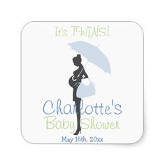 It's TWINS! Blue Silhouette Baby Shower Square Sticker
