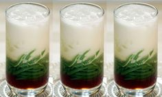 Es Cendol - those green stuff are NOT worms. They're made out of flours! This drink is one of Indonesian famous beverages! <3
