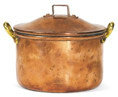 WAR: A FABERGÉ COPPER COOKING POT, 1914      cylindrical with two brass handles, the domed lid with squared handle, thebase stamped Fabergé and War inRussian beneath the Imperial Warrant and dated 1914