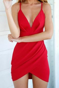 Sexy V-Neck Sleeveless Solid Color Asymmetrical Women's Dress
