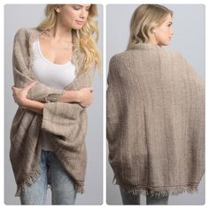 Loose Knit kimono cardigan cape Perfect Light weight layering piece avialable in taupe ombré . Frayed edge details . Nwot please comment for new listing one size fits all Vivacouture Accessories Scarves & Wraps