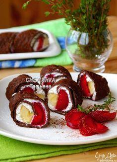 Блинный шоколадный ролл с клубникой Такой завтрак зарядит энергией и поднимет…