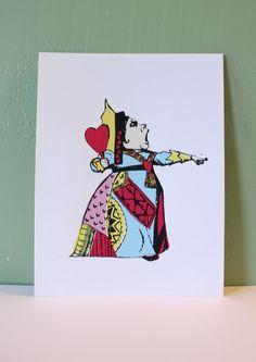 Queen of Hearts Alice in Wonderland Screenprint. $17.00, via Etsy.