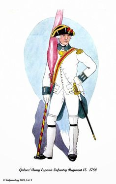 Spanish; Galvez' Army, Infantry Regiment Espana 15th, Ensign, 1780 American Revolutionary War, American War, American Soldiers, Toy Soldiers, Military History, 18th Century, Reggio, North America, World