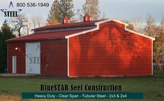 steel barn - equipment barn - low cost equipment barn - call for a quote Steel Barns, Tubular Steel, Garage Doors, Construction, Quote, Outdoor Decor, Home Decor, Building, Quotation