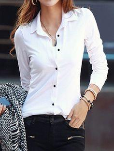 Casual Shirt Collar Long Sleeve Single-Breasted Slimming Women's Shirt