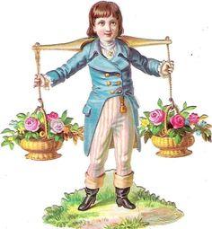 Oblaten Glanzbild scrap die cut chromo Kind child enfant Blume flower fleur