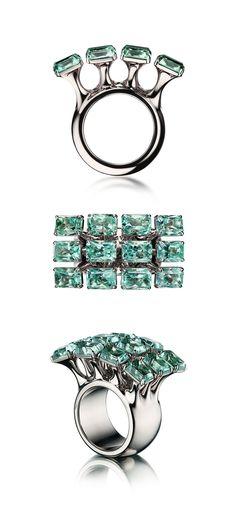 VLAD GLYNIN jewellery - vladglynin.com - Ring OCTOPUS, 2016, white gold, emeralds / Кольцо ОКТОПУС, 2016, белое золото, изумруды / Anello OCTOPUS, 2016, oro bianco, smeraldi