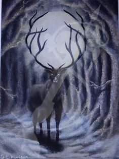 "A painting of a stag in a forest with the sun shining through its antlers  Acrylic paint on Canvas Board Dimensions: 5""x7"" Framed"