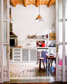 DIY STENCIL PAINTED FLOOR ROUND-UP (AKA FAUX CEMENT TILE)