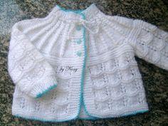 1000 Artes: Casaquinho Bebê Branco - Tricô --------- Sem receita