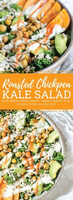 This nutritious and satisfying, Roasted Chickpea Kale Salad features tangy, creamy lemon tahini sauce, avocado, roasted sweet potato and sunflower seeds. Vegan and gluten-free. Easy to make with everyday ingredients. #runningonrealfood #chickpea #kalesalad #vegan