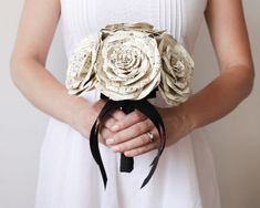 hand made bridal bouquet from vintage paper
