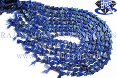 Lapis Lazuli Smooth Triangle (Quality B) Shape: Triangle Smooth Length: 36 cm Weight Approx: 16 to 18 Grms. Size Approx: 6x8 to 8x12 mm Price $2.80 Each Strand