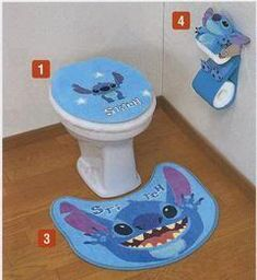 Decorate your bathroom with Stitch toilet accessories.