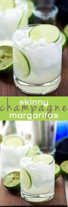 Skinny Champagne Margarita's combine two classic beverages in one bubbly drink! A light and refreshing margarita is topped with champagne for an easy and fun twist on the classic!