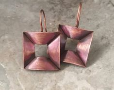 Rustic copper earrings, folded metal, drop earrings