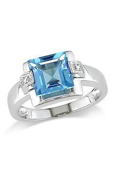 #PerfectRings:14K White Gold Diamond  Sky Blue Topaz Fashion Ring