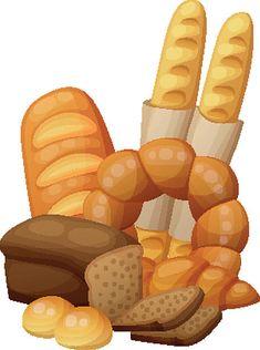 Cartoon vector illustration isolated on - Illustration vectorielle Art Du Pain, Vegetable Basket, Food Clipart, Bread Art, Food Illustrations, Illustration Vector, Clay Birds, Restaurant Menu Design, Recipe Scrapbook