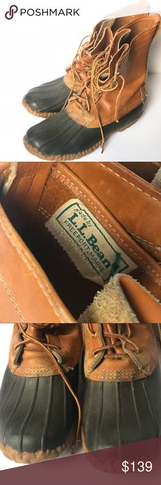 """Vintage LL Bean duck boot Men's  8 women's 10 Well here are a pair of the original, you can't kill them, hand sewn, in Maine, LL Bean duck boots.  These aren't  going to fall apart on you, this pair is vintage, and they are still in great shape. These are """"lifer"""" boots... only have to buy one in your lifetime. They will out live you. ;) 8"""" tan leather, lace up, unlined, split tongue. Men's 8, women's 10, with thick wooly socks. Note wear on soles. If you're going to wear them, wear the real…"""