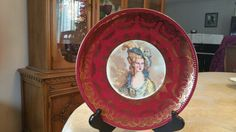 Antique Vintage Royal Bayreuth Bavaria Blue Mark Victorian Bayreuth Portrait Plate Bavaria Woman with Hat Gold Burgundy Cabinet Plate, 10.5""
