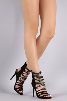 Shoe Republic LA Strappy Suede Stiletto Heel