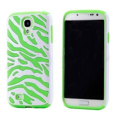 Green Zebra Pattern 2 in 1 Silicone Back Case Cover for Samsung Galaxy S4 i9500
