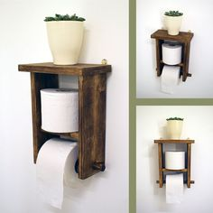 Rustic Toilet Paper Holder Looking for a clever way to store your toilet paper? This rustic toilet paper holder is … Wooden Toilet Paper Holder, Bathroom Toilet Paper Holders, Toilet Paper Roll, Toilet Roll Holder Diy, Rustic Wooden Shelves, Wooden Bathroom Shelves, Bathroom Storage, Rustic Toilets, Wall Mounted Toilet