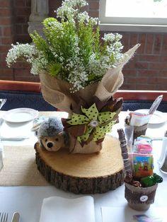 Woodland Theme - Baby Shower Centerpiece - hedgehog