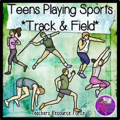 Teenagers Playing Sports *track and field* athletics clip art - color and black line. Product includes: • Javelin throwing • Long jumping • Running • Sprinting • Shot putting • Sprint start position $