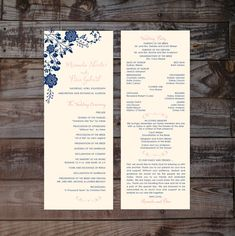 This Is A Handmade Wedding Program That Measures 375 X 105 It Available In