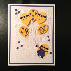 Minion card using Stampin up owl punch and happy birthday embossing folder.