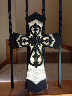 Large Black and Creme Layered Wood Cross by SignsBYDebbieHess, $28.99