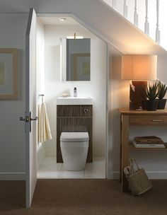 Did you know you could turn an under stairs space into a small bathroom? Just install a cute toilet sink combo and add a mirror above it. Space Under Stairs, Bathroom Under Stairs, Basement Bathroom, Toilet Under Stairs, Basement Stairs, Bathroom Closet, Basement Ideas, Bathroom Plumbing, Open Basement
