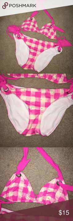 VS Pink bikini Both pieces are size XS. Pink and white checked print. The top has rhinestones on it. Great condition! PINK Victoria's Secret Swim Bikinis