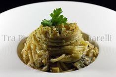 Le mie ricette - Spaghetti con sgombro, melanzane saltate e mollica di pane al prezzemolo