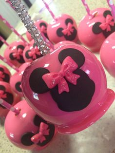 Custom Minnie Mouse candy apples with custom bling sticks!