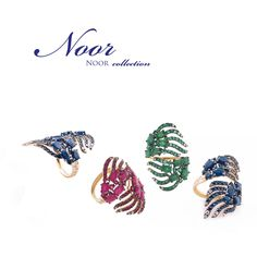 NOOR, that is famous for its bright colors continues creating masterpieces with emeralds, sapphires and rubies that evoke elements of nature such as leaves or feathers. An invitation to a carefree elegance. VicenzaOro - pavilion 7 stand 762. #CASATO #VicenzaOro #luxury #casatogioielli
