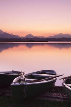 Photographic Print: Rowing Boats on Hopfensee Lake at Sunset by Markus : 24x16in
