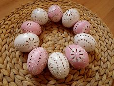 Easter Eggs, Pink White, Applique, Carving, Holiday, Wood, Easter, House Decorations, Eggs