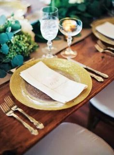 Circus Gold Border Charger Plates With Largo Glassware, King Arthur Gold  Flatware On Farm Table