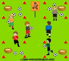Dribbling - Cuckoo's Nest - Kids Soccer - Soccer drills for kids from to - Soccer coaching with fantasy Soccer Drills For Kids, Soccer Pro, Soccer Practice, Soccer Skills, Soccer Coaching, Youth Soccer, Kids Soccer, Soccer Stars, Soccer Games