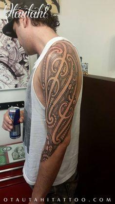 otautahi tattoo queenstown auckland ta moko tamoko kirituhi half sleeve arm tatau new zealand nz maori tribal design ariana ari morunga