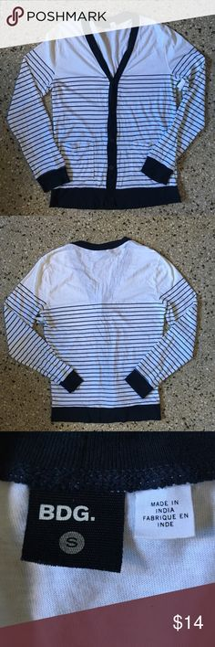 """BDG Cardigan Excellent Condition. No holes or tears. Size Small. White and Navy Blue. 100% Cotton.   Length - 28.5"""" Chest - 19"""" Shoulders 17"""" Shoulder to Cuff - 26"""" BDG Sweaters Cardigan"""