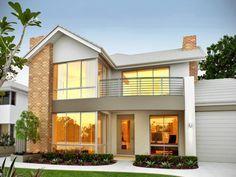 Brick modern house exterior with balcony & landscaped garden - House Facade photo 102379