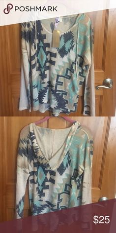 Francesca long sleeve shirt with hoodie Brand new. Tags still on. Cute, funky long sleeve shirt to wear out. Casual. Francesca's Collections Tops Tees - Long Sleeve